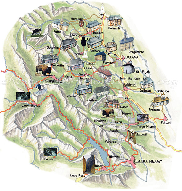 Bucovina Painted Monasteries Map