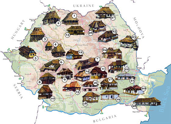 Romania Map - Traditional Houses