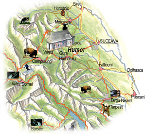 Bucovina Map - Humor Monastery