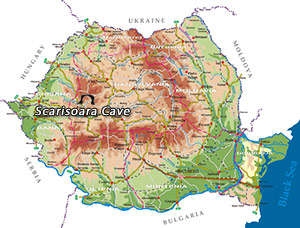 Romania Map - Scarisoara Cave