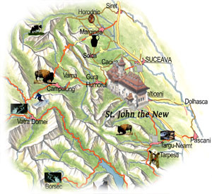 Bucovina Map - St. John the New Monastery