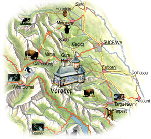 Bucovina Map - Voronet Monastery